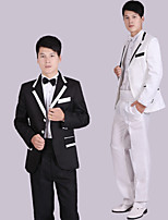 Suits Tailored Fit Notch Single Breasted Three-buttons Polyester Stripes 4 Pieces Black / White