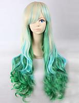 dibujos animados color de moda peluca largo rizado pelucas del color del pelo