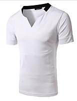 Herren Freizeit T-Shirt  -  Einfarbig Kurz Baumwolle