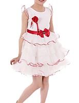 Girl's Blue / Red Dress,Bow Cotton Summer / Spring
