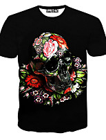 Men's Short Sleeve T-Shirt , Cotton Casual Print