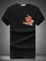 Men's Fashion Chinese Style Print Round Collar Slim Fit Short-Sleeve T-Shirt