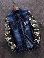Spring jacket young men stitching slim Jeans Mens Korean camouflage Jacket Mens Jeans Jacket tide
