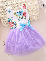 Girl's Green / Purple / Red / Yellow Dress,Floral Cotton Spring / Fall
