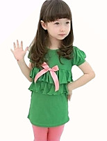 Girl's Green / Orange Dress,Solid Cotton Summer