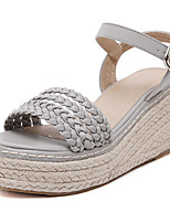 Women's Shoes Leatherette Wedge Heel Open Toe Sandals Party & Evening / Dress White / Gray