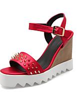 Women's Shoes Fleece Wedge Heel Wedges / Open Toe Sandals Office & Career / Dress Black / Red / White / Gray