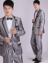 Suits Tailored Fit Notch Single Breasted One-button Polyester/Rayon(T/R) Stripes 4 Pieces Gray