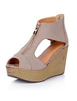 Women's Shoes Leather Wedge Heel Wedges / Heels / Peep Toe / Open Toe Sandals Dress Black / Gray