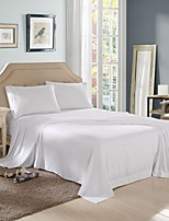 Solid Microfiber Bed Sheet Set, Embroidered, with 14