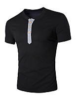 Men's Short Sleeve T-Shirt,Cotton / Polyester Casual Solid