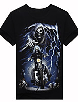 Men's Short Sleeve T-Shirt,Cotton Casual / Work / Formal / Sport Print 3D skull Knight T-shirt fashion clothes T-shirt