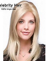 Women Capless Fashion Long Straight Light Blonde Synthetic Wig with Full Bang