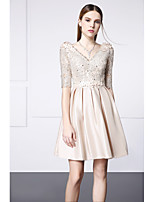 Cocktail Party Dress - Champagne A-line V-neck Short/Mini Lace / Satin