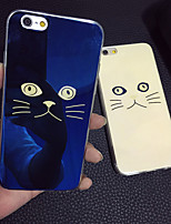 gato lindo bege gato luz azul blu-ray reflexivo tampa do caso macio TPU para 6s iphone plus / iPhone 6 Plus