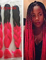 1-12packs Black And Rose Color Braiding Hair High Temperature braiding hair 100g/pcs synthetic braiding hair Extensions
