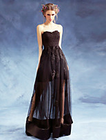Formal Evening Dress - Black A-line Sweetheart Floor-length Satin / Tulle