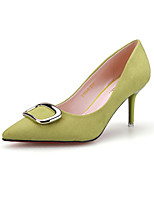 Women's Shoes Suede Stiletto Heel Heels / Pointed Toe / Closed Toe Heels Dress Black / Yellow / Green / Pink / Gray