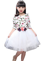 Girl's Cotton Spring / Fall Flowers Decoration Gauze Long Sleeve  Dress