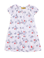 Girl's White Dress,Floral Cotton Summer