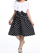 Girl's Black / Blue / Red Dress,Dot / Lace / Bow Cotton Summer / Spring