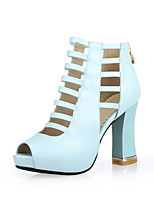 Women's Shoes Leatherette Chunky Heel Heels / Peep Toe Sandals Casual Black / Blue / Pink / Almond