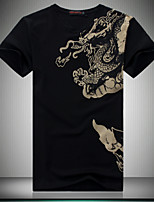 Men's Casual Hot Drilling Slim Printed T-Shirt , Cotton / Polyester Casual / Plus Sizes Print
