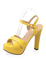 Women's Shoes Leatherette Chunky Heel Heels Sandals Wedding / Party & Evening / Dress / Pink / Red / Beige