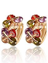 Luxury Multicolored Gem Crystal X Shape Flowers Earrings