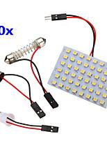 10 PC 3528 SMD LED del panel 48 blanco caliente llevó la luz + t10 / módulo ba9s + doble punta (CC 12V)