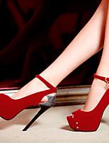 Women's Shoes Heel Heels / Peep Toe / Platform Sandals / Heels Party & Evening / Dress / Casual Black / Blue / Red