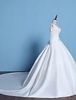 A-line Wedding Dress - White Chapel Train V-neck Lace / Satin