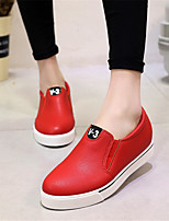 Women's Shoes Leatherette Wedge Heel Wedges Loafers Outdoor / Casual Black / Red / White