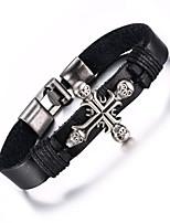 Leather Woven  Brass Buckle Cross Men Bracelet