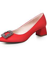 Damenschuhe-High Heels-Kleid-Seide-Blockabsatz-Absätze / Geschlossene Zehe-Schwarz / Lila / Rot