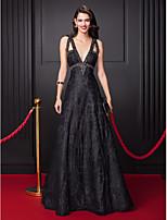 저녁 정장파티 드레스-블랙 A-라인 바닥 길이 V-넥 레이스