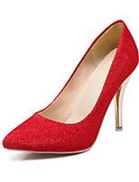 Calçados Femininos-Saltos-Saltos-Salto Agulha-Preto / Vermelho / Prateado / Dourado-Gliter-Casamento / Social / Festas & Noite