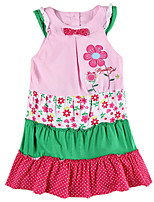 Children's Dress Sleeveless Pink Dress Flower Embroidery Dress with Bow Girls Dresses(Random Printed)