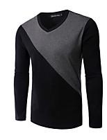 Herren Freizeit / Büro / Formal / Sport T-Shirt  -  Einfarbig Lang Baumwolle