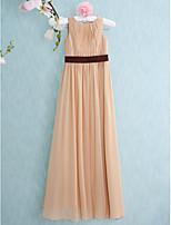 באורך הרצפה שיפון שושבינה זוטר נדן שמלה-שמפניה / סקופ עמודה