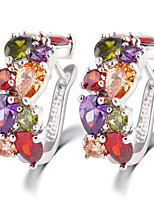 Zircon Luxurious Dinner Multicolored Crystal Jeweled Earrings