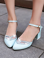 Women's Shoes Leatherette Chunky Heel Heels / Pointed Toe Heels Wedding / Office & Career / Dress Blue / Pink / White