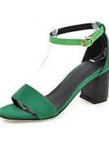 Women's Shoes Leatherette Chunky Heel Heels Sandals Casual Black / Brown / Green