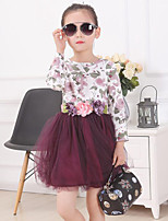 Girl's Red / White Dress,Floral Cotton Spring / Fall