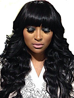 Lace Front Human Hair Wigs With Bangs Virgin Brazilian Glueless Long Wavy Human Hair Lace Front Wig With Full Bangs