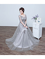 Formal Evening Dress-Silver A-line Jewel Floor-length Tulle