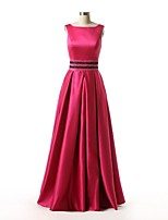 Formal Evening Dress - Fuchsia A-line Bateau Floor-length Satin