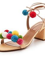 Women's Shoes Linen Chunky Heel Heels Sandals Party & Evening / Dress / Casual Almond