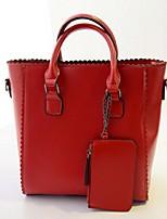 Women PU Shopper Tote-Blue / Brown / Red / Black