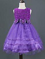 Robe Fille de Eté / Printemps / Automne Rayonne Rose / Violet / Rouge / Blanc